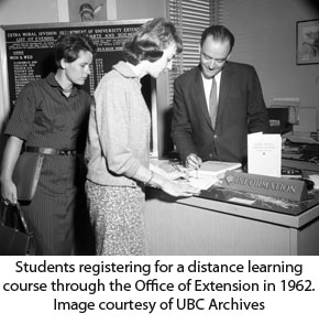 Student registering for a course at the Office of Extension in 1962