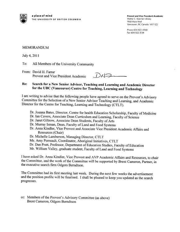 Provost memo search for new senior advisor teaching and learning centre thecheapjerseys Gallery