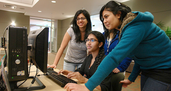Students in front of computer