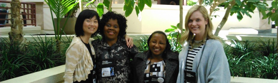 Amy Perreault and Hanae Tsukada with POD Conference Colleagues, San Francisco, CA, USA (Nov 4-8, 2015); L-R Tsukada, Dr. Misiwe M. Katiya (Cape Peninsula University of Technology South Africa), Jacinta Mutambuki, Ph.D. STEM Education Postdoctoral Research Associate- Washington University in St. Louis), and Perreualt